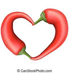 10, pepe, heart., eps, peperoncino, rosso