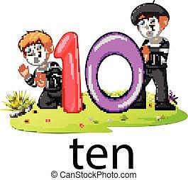 10, pequeno, texto, balloon, numere dois, capim, tocando, pantomima