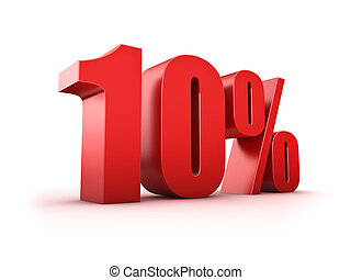 10 percent - 3D Rendering of a ten percent symbol