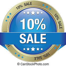 10 percent blue gold button