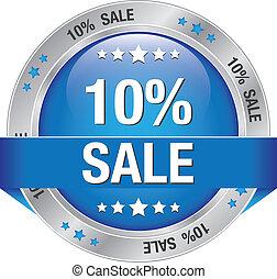 10 percent blue silver button