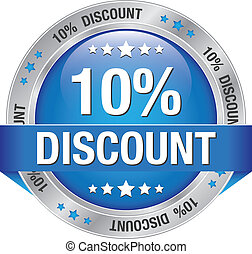 10 percent discount blue silver button isolated