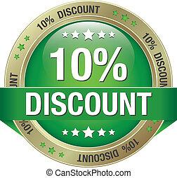 10 percent discount green button