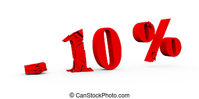 10 percent discount icon on white background 3D