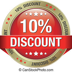 10 percent discount red button - 10 percent discount red...