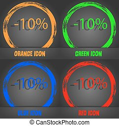 10 percent discount sign icon. Sale symbol. Special offer label. Fashionable modern style. In the orange, green, blue, red design. Vector