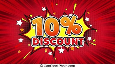 10% Percent Discount Text Pop Art Style Comic Expression. -...
