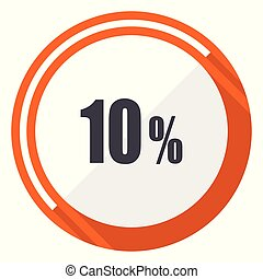 10 percent flat design vector web icon. Round orange internet button isolated on white background.