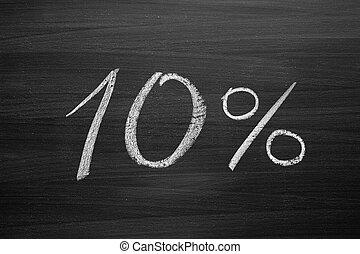 10-percent header written with a chalk on the blackboard