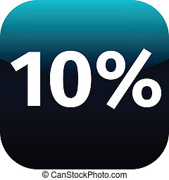 10 percent icon or button in blue and black color