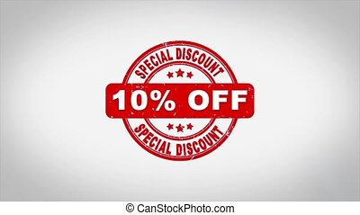 10% Percent Off Special Discount Signed Stamping Text Wooden Stamp Animation. Red Ink on Clean White Paper Surface Background with Green matte Background Included.