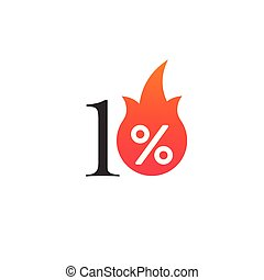 10 percent off with the flame, burning sticker, label or icon. Hot Sale flame and percent sign label, sticker. special offer, big sale, discount percent off. Vector illustration isolated on white background