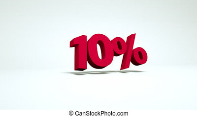 10 percent - red falling numbers - 3d video with a falling...