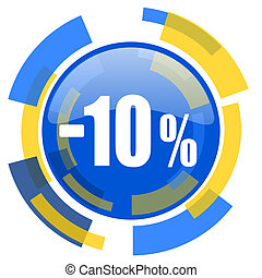 10 percent sale retail blue yellow glossy web icon