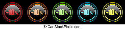 10 percent sale retail colored web icons set on black background