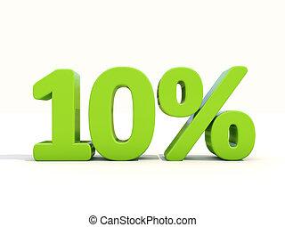 Ten percent off. Discount 10%. 3D illustration.