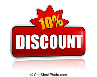 10 percentages discount 3d red banner with star - 10...