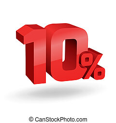 10, percento, illustrazione