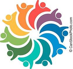10, pessoas., grupo, espiral, trabalho equipe