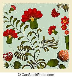 10, petrikov, ukrainian, vindima, nacional, ornamento, eps, experiência., floral, painting.