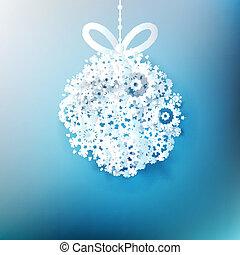 10, piłka, snowflakes., eps, robiony, boże narodzenie