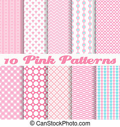 10 Pink different vector seamless patterns (with square swatches). Endless texture can be used for sweet romantic wallpaper, pattern fills, web page background, surface textures. Abstract ornaments.