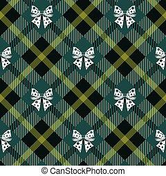 10, plaid, seamless, arco, fondo., verde, tartan, bianco, eps, nastro