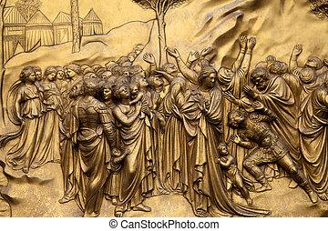10, porte,  -, Commandements, baptistère, moïse,  Florence, paradis, panneau