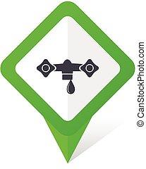 10, quadrado, eps, água, vetorial, experiência verde, branca, ponteiro, shadow., ícone