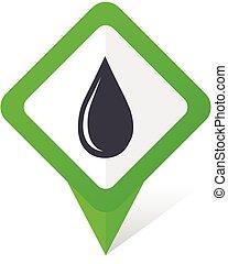10, quadrado, gota, eps, água, vetorial, experiência verde, branca, ponteiro, shadow., ícone