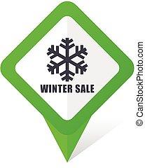 10, quadrado, inverno, eps, venda, vetorial, experiência verde, branca, ponteiro, shadow., ícone
