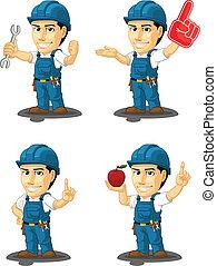 10, réparateur, mascotte, technicien, ou