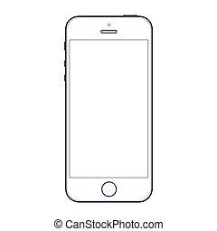 10, realistico, mobile, schermo, isolato, eps, telefono, vettore, nero, fondo., vuoto, bianco