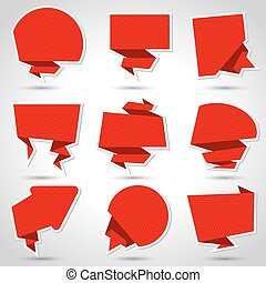 10, resumen, eps, fondo., vector, discurso, origami, burbuja