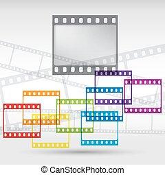 10, resumen, eps, vector, strip., plano de fondo, película