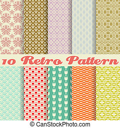 10 Retro different vector seamless patterns (tiling). Endless texture can be used for wallpaper, pattern fills, web page background, surface textures. Set of monochrome geometric ornaments.