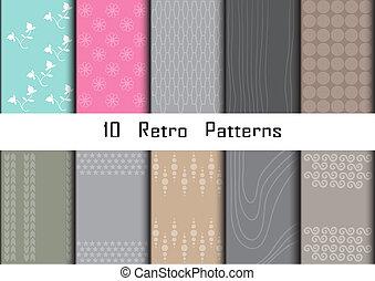 10, retro, różny, wektor, seamless, wzory