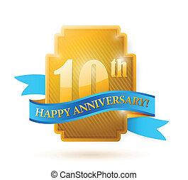 10, ribbon., doré, anniversaire, années, cachet