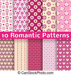 10 Romantic different vector seamless patterns (tiling). Sweet pink, brown and lemon cream colors. Endless texture can be used for printing onto fabric and paper. Heart, flower and dot shape.