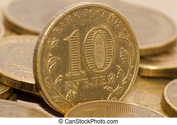 10 Russian rubles, coins closeup