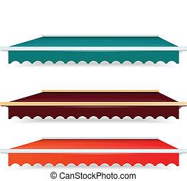 10, satz, bunte, farbe, -, eps, markisen, ledig, vektor