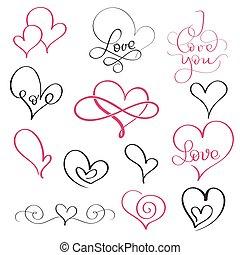 10, satz, liebe, weinlese, word., einige, eps, abbildung, hand, vektor, herzen, gezeichnet, kalligraphie, schnörkel