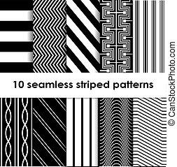 10, seamless, 有條紋, 矢量, 圖樣