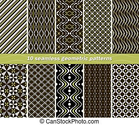 Set of 10 different seamless abstract geometric patterns in black, white and green colors. Beautiful contrasting prints. Vector illustration for stylish fashionable design