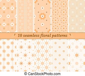 Set of 10 different seamless cute floral patterns in orange colors. Vector illustration for various creative projects