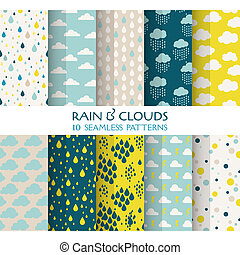 10, seamless, patrones, -, lluvia, y, nubes, -, textura,...
