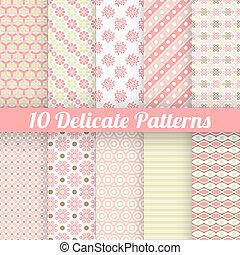 10, seamless, (tiling), modelli, vettore, delicato, bello