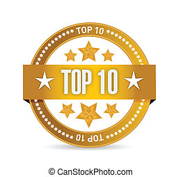 10, selo, topo, ilustração, desenho, selo
