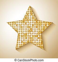 10, sequins, star., eps, ilustração, vetorial, brilhante
