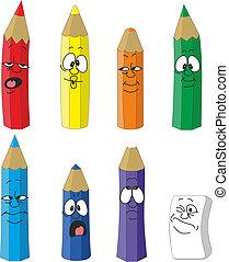 10, set, colore matita, emotivo, cartone animato